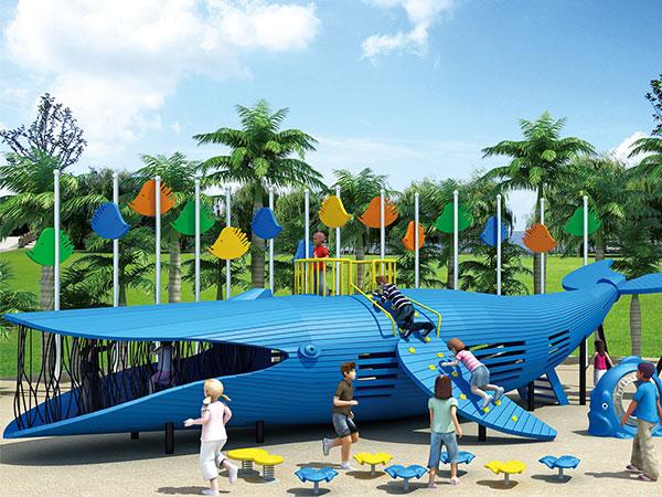 蓝鲸滑梯 鲸鱼组合滑梯 无动力游乐设备厂家