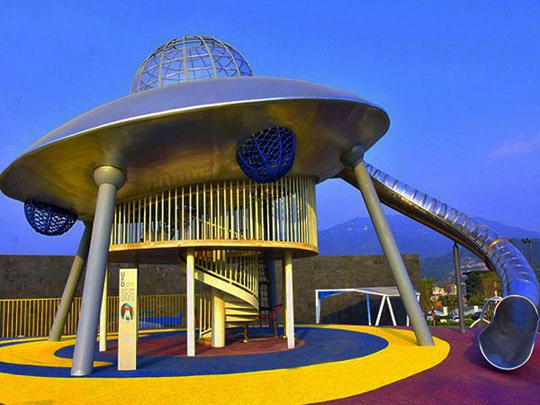 飞碟造型组合滑梯 外星人飞碟儿童不锈钢滑梯UFO厂家可定做