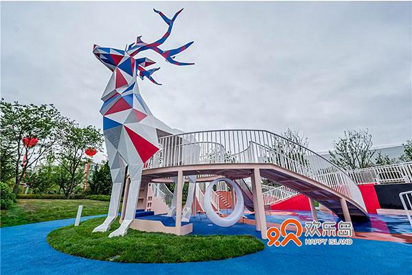 即墨市房地产游乐设备项目 麋鹿雄鹿儿童滑梯