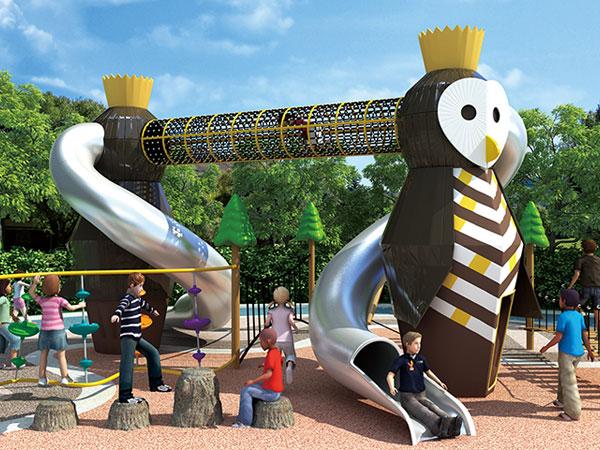 猫头鹰不锈钢滑梯 可定做各种造型组合滑梯厂家