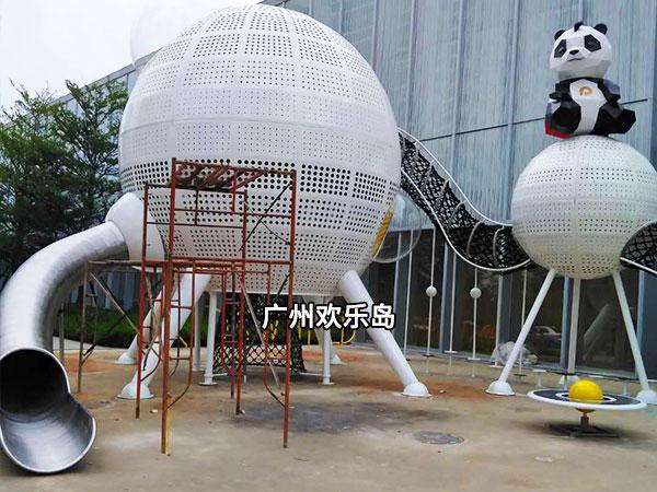 熊猫滑梯 熊猫造型无动力游乐设备 保宝金星探险不锈钢滑梯