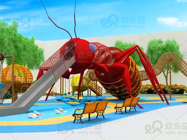 新款红蚂蚁爬滑组合滑梯游乐设备可定做 红蚂蚁滑梯厂家