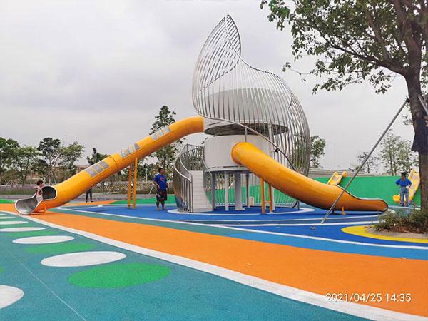 东莞不锈钢组合滑梯案例 海螺无动力游乐设备厂家可定做