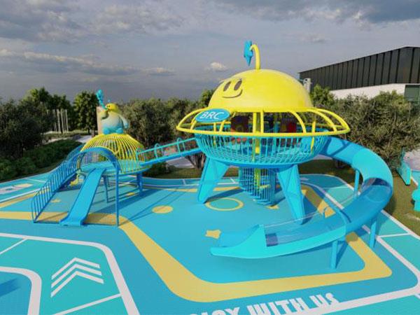 佛山蓝光未来城不锈钢组合滑梯 小区飞碟游乐设备