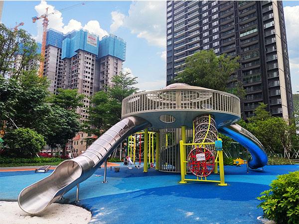 佛山华侨城飞碟滑梯无动力游乐设备 儿童组合滑梯厂家