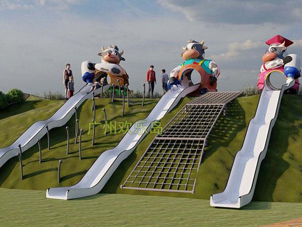 奶牛滑梯 儿童乐园奶牛造型组合滑梯厂家可设计定做