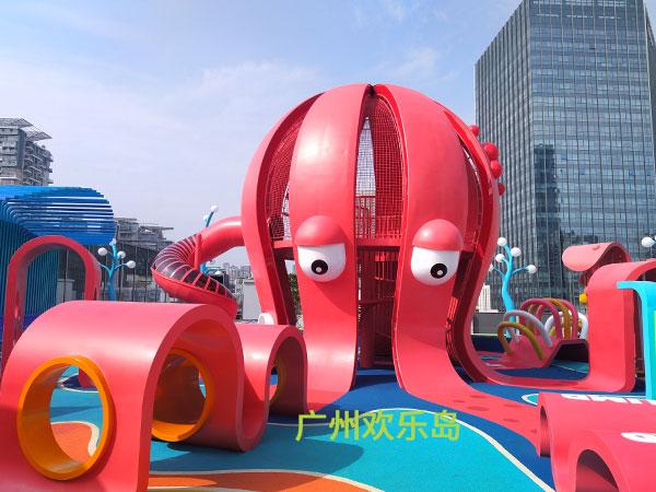 深圳蛇口汇港二期章鱼造型组合滑梯儿童无动力乐园